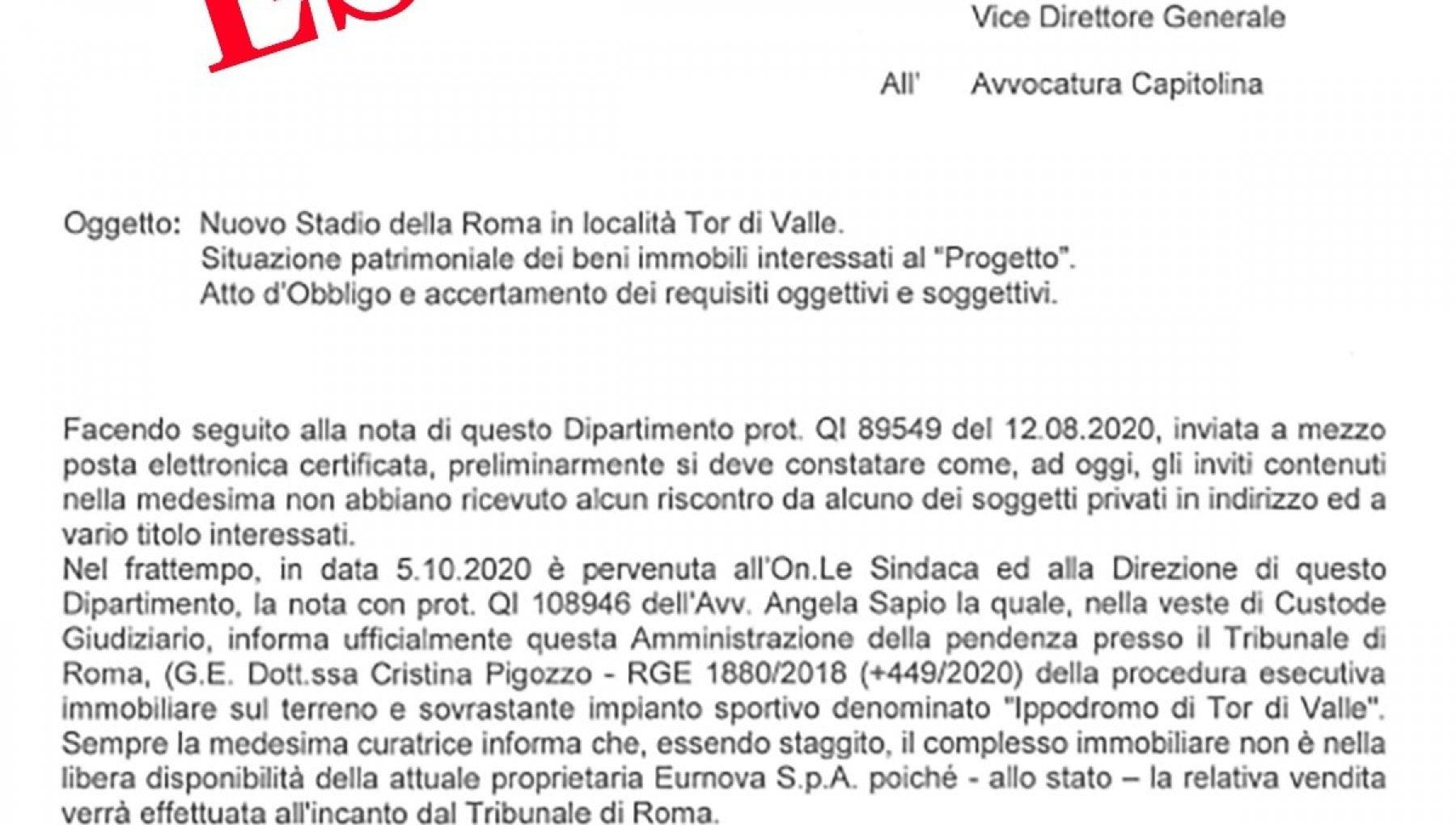 La Roma dice addio allo stadio di Tor di Valle quei terreni sono pignorati