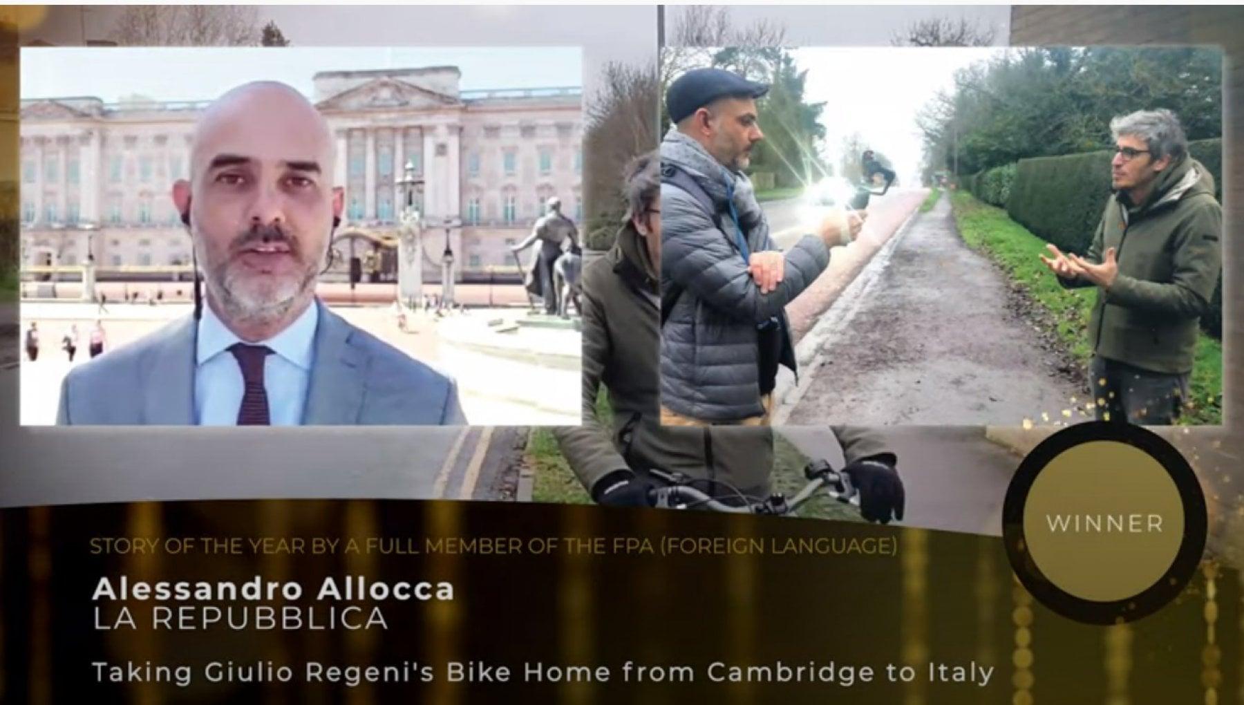 Regeni premiato il reportage di Repubblica sulla bici di Giulio a Cambridge