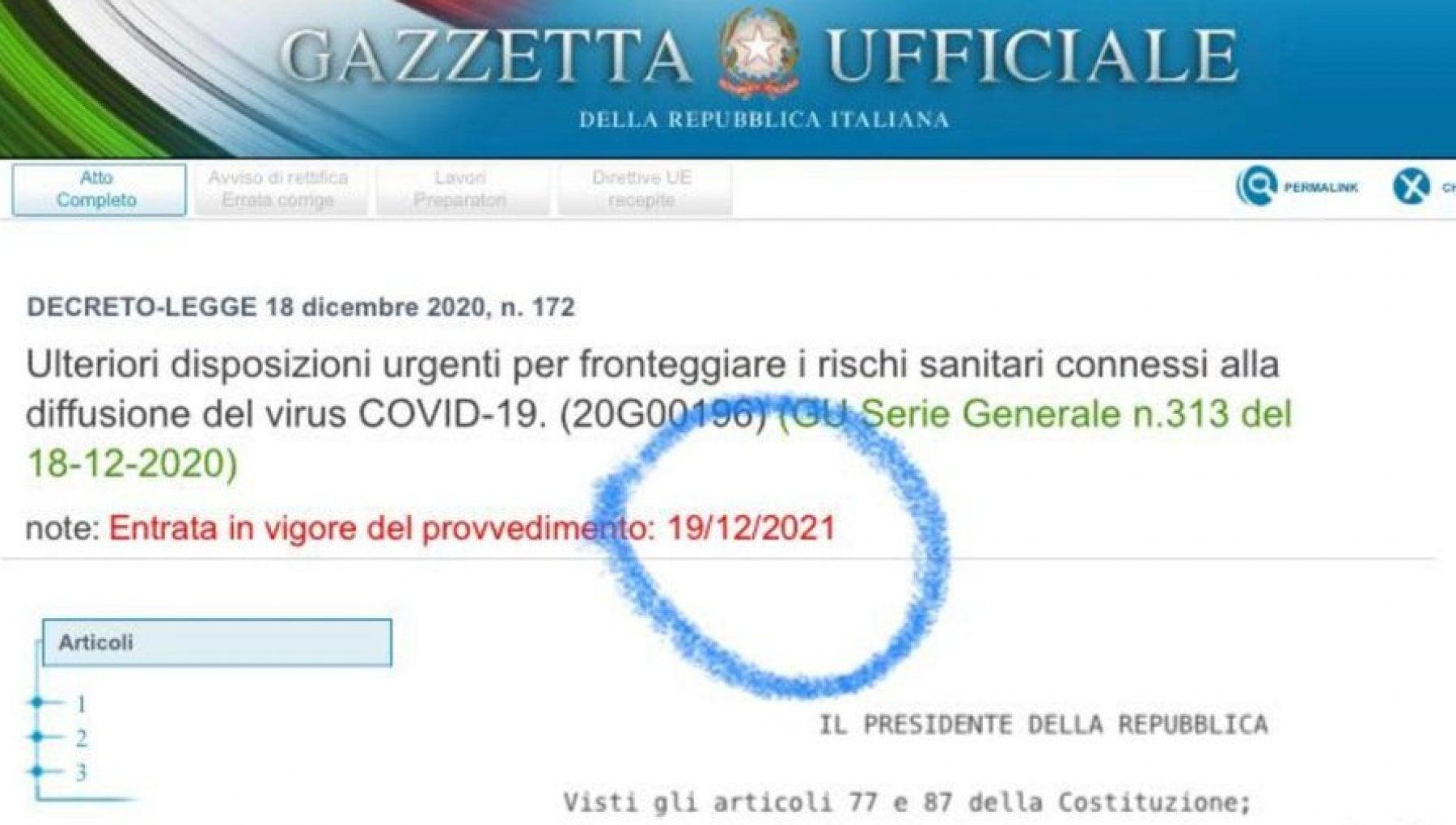 Decreto Natale lerrore poi corretto in Gazzetta ufficiale misure valide dal 19 dicembre 2021