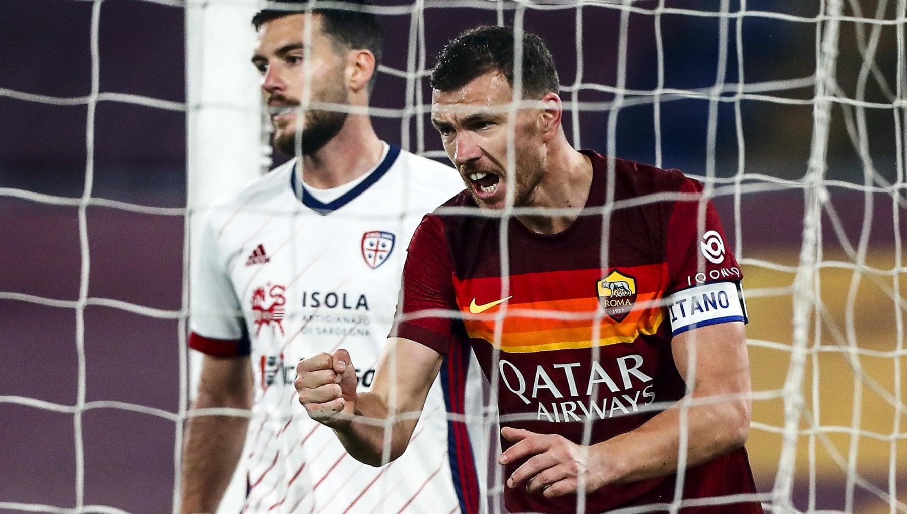 Roma Cagliari 3 2 Veretout Dzeko e Mancini regalano ai giallorossi il terzo posto