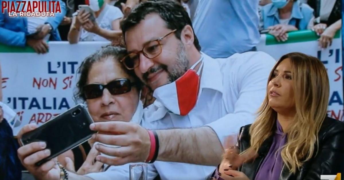 Salvini una forma di virus intelligente. Piazzapulita uso politico del Covid dove si spingono Formigli e Lucarelli Video