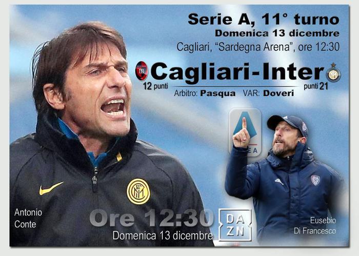 Serie A Cagliari Inter formazioni