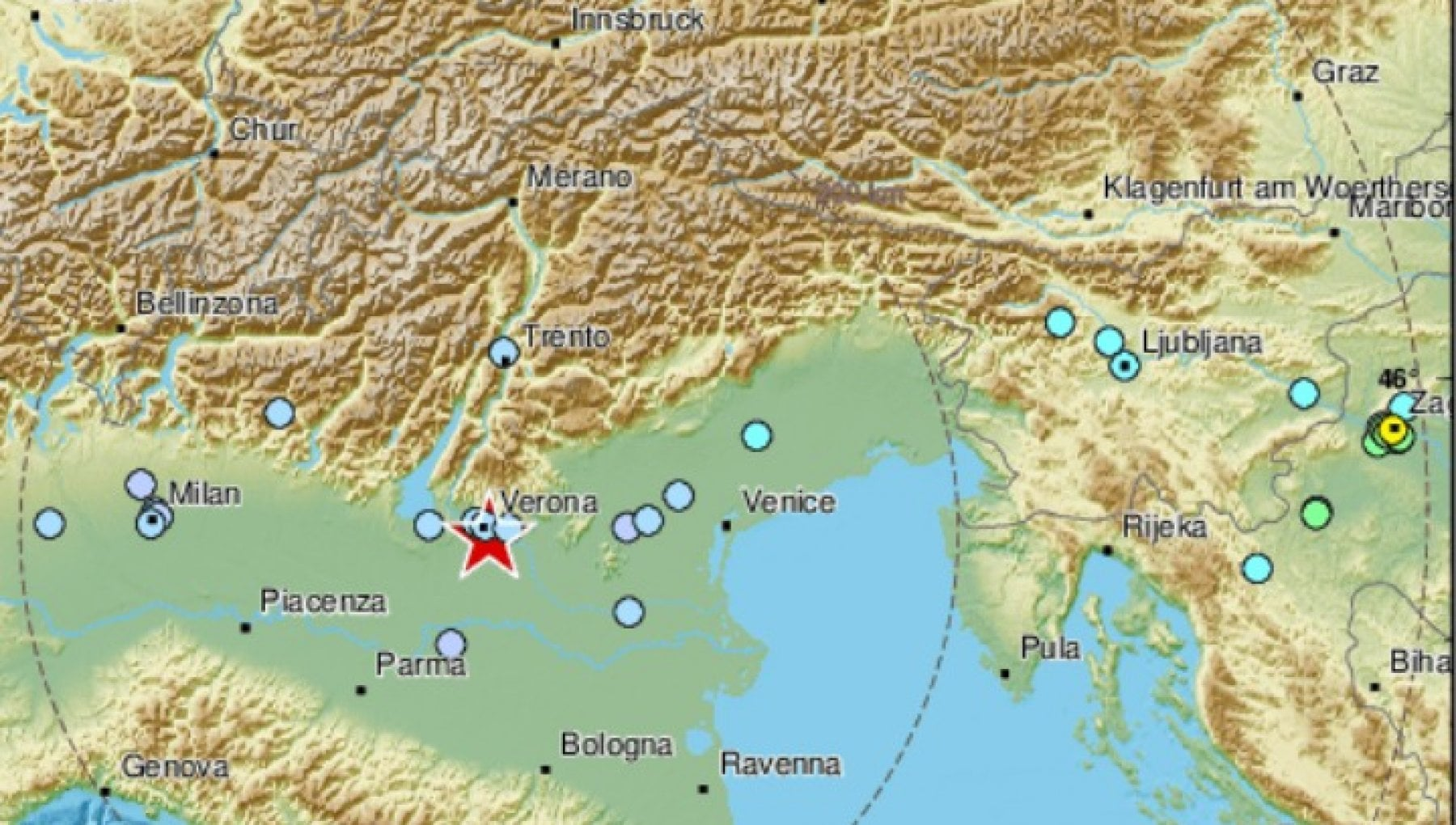 Terremoto tre scosse nel Veronese in meno di due ore la piu forte di magnitudo 4.4