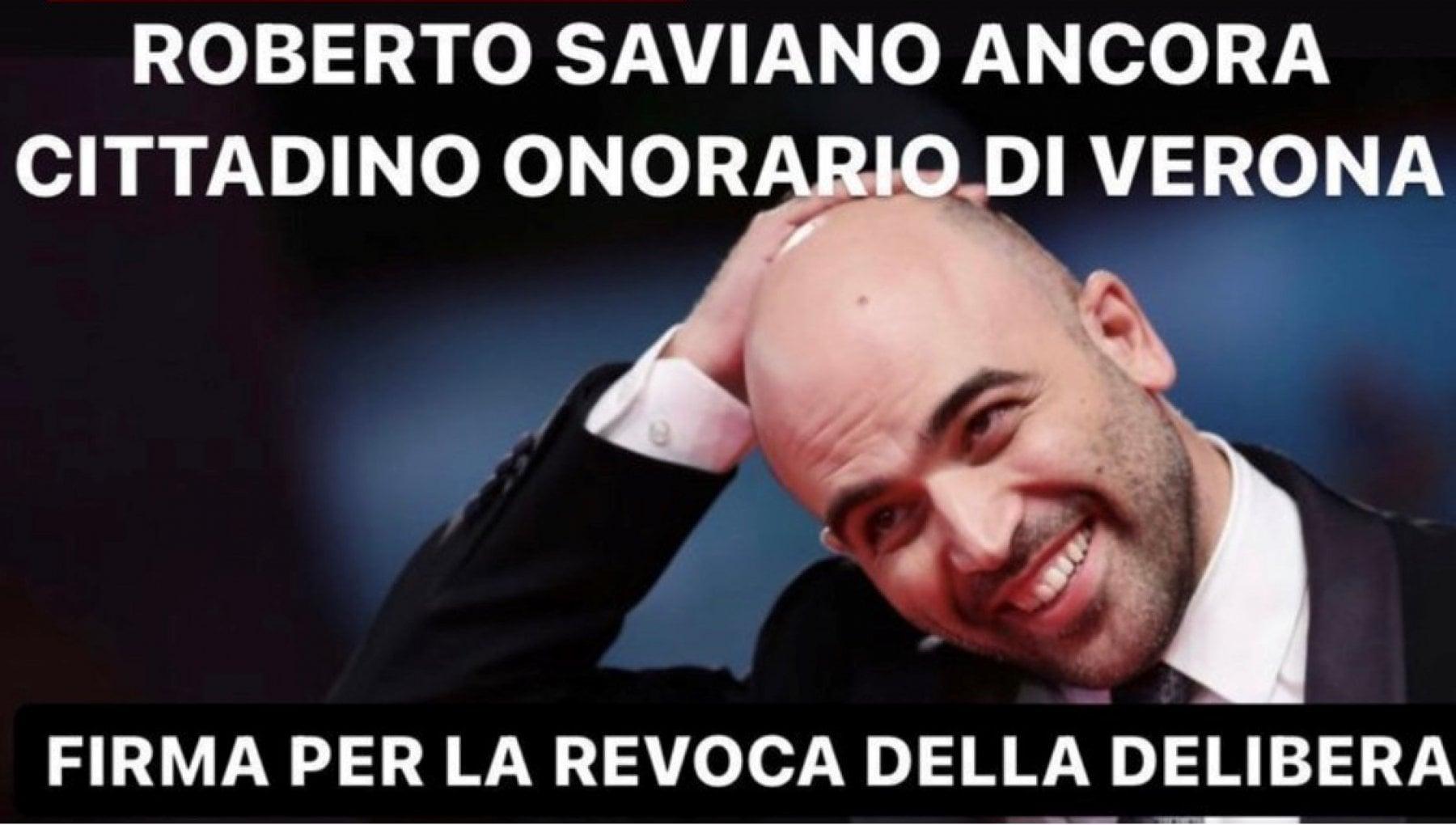Verona revoca della cittadinanza onoraria a Saviano il Pd lancia una petizione con migliaia di firme in poche ore