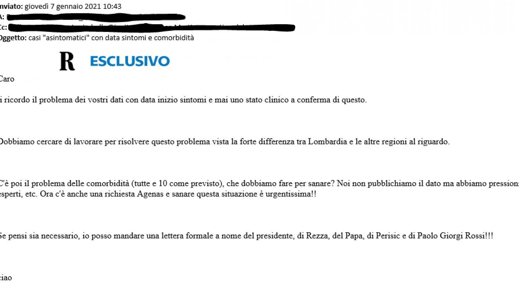 Caso Lombardia in zona rossa ecco la nuova mail con cui lIss avvertiva lassessorato di problemi nei dati e del 7 gennaio