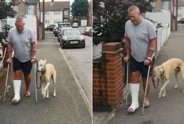 Il proprietario ha la gamba ingessata e il cane inizia a zoppicare Mi stava imitando lo amo