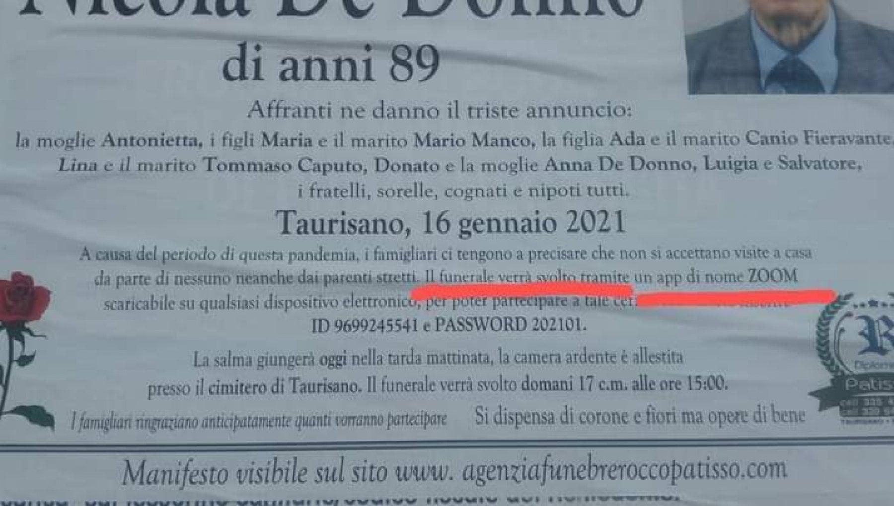 Lecce la famiglia del defunto non vuole visite e scrive sul manifesto Il funerale e su Zoom ecco username e password